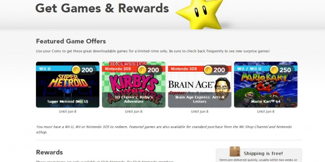 Club Nintendo's loyalty program includes classic games
