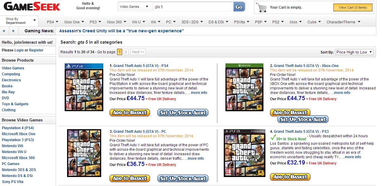 GTA 5 PC, PS4, Xbox One releasing November 7th according to retailer