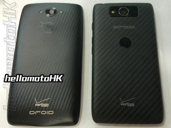 Motorola Droid Turbo (left) next to the Motorola Droid Maxx (right)