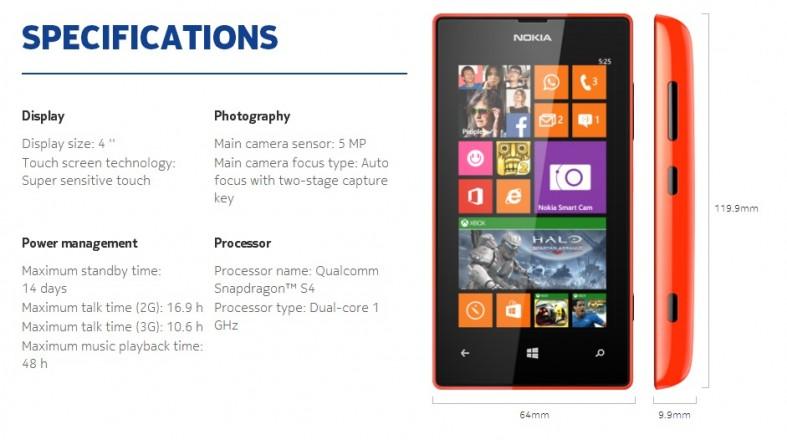 Specs list for the Nokia Lumia 525
