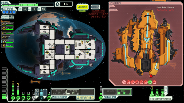 FTL, a top-down strategy rogue-like.