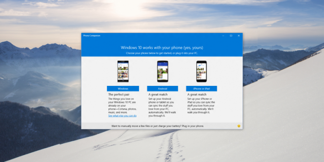 Windows 10 will sync with iOS and Android phones