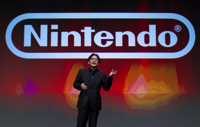 SAN FRANCISCO, CA - MARCH 2:  In this handout image provided by Nintendo of America, Satoru Iwata, president of Nintendo Co. Ltd., gives the keynote address at the Game Developers Conference March 2, 2011 in San Francisco, California. Iwata announced Super Mario in 3D for the Nintendo 3DS portable video game system. (Photo by Kim White/Nintendo of America via Getty Images)