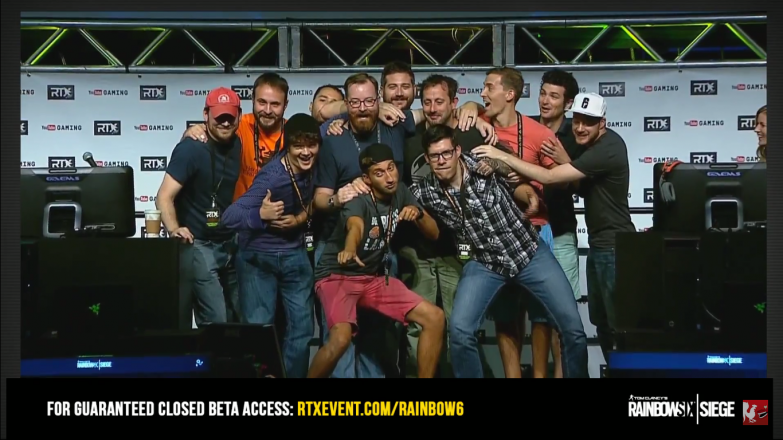 Achievement Hunter and Funhaus after their live demo of Rainbow 6 Siege.