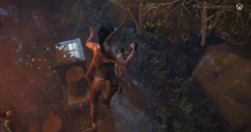 Stabbing someone after jumping on them? Of course Lara can do that