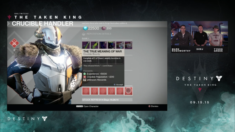 There will also be weekly bounties that offer the same loot as Nightfalls.