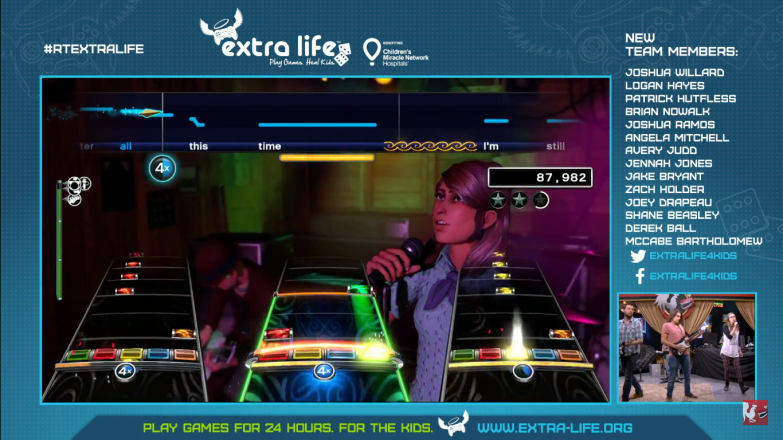 The stream ends with Rock Band 4, featuring Caiti and Jack Patillo, Miles Luna, and Jon Risinger