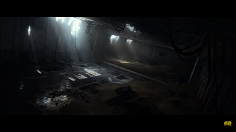 What is assumed to be the interior of the Executor class Super Star Destroyer seen on Jakku, with Rey presumably scavenging what she can from it