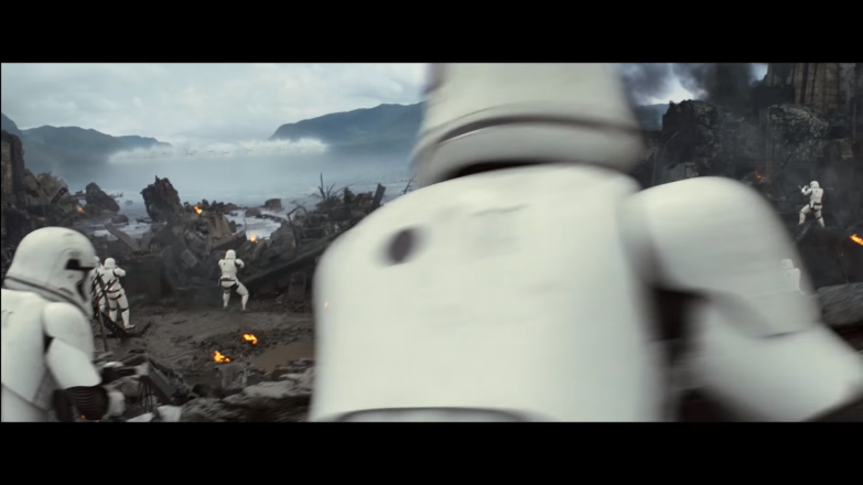Stormtroopers taking up defensive positions. The wave in the top left is likely from a group of Resistance X-Wings