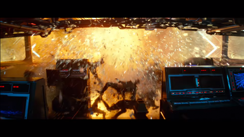 The interior of a Star Destroyer blowing up, notice the edge of the explosion appears to