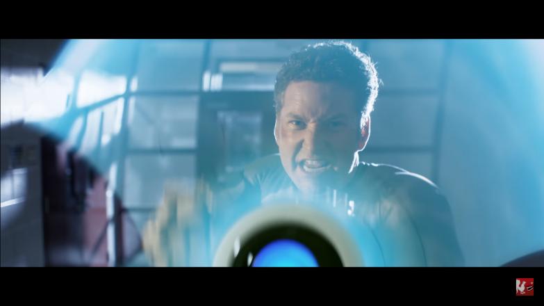 Burnie Burns as Hagan: the shield bearing, de-facto leader of Lazer Team, exactly like Captain America