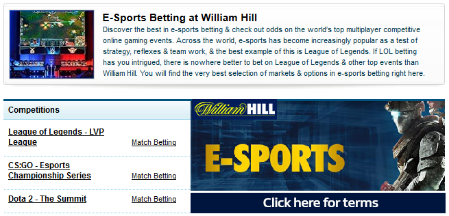 William Hill e-sports odds