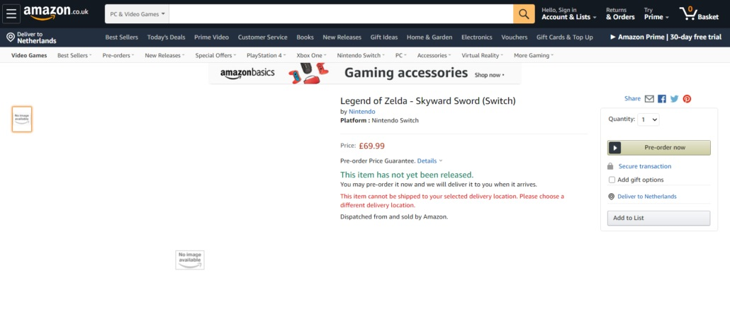 Skyward Sword Switch listing